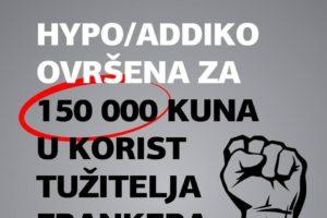 HYPO/ADDIKO OVRŠENA JE OD STRANE TUŽITELJA NA IZNOS CCA. 150 000 KUNA
