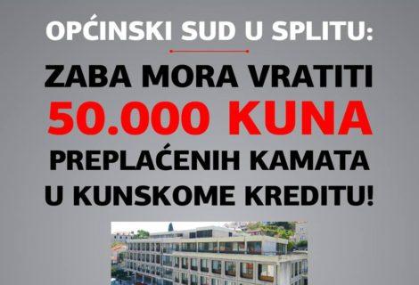 OPĆINSKI SUD U SPLITU DOSUDIO TUŽITELJU POTROŠAČU PREPLAĆENE KAMATE PO KUNSKOME KREDITU