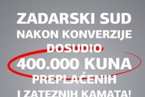 KONVERZIJA NIJE PREPREKA – 400.000 KUNA PREPLAĆENIH I ZATEZNIH KAMATA TE 36.000 KUNA SUDSKIH TROŠKOVA DOSUĐENO ZA KONVERTIRANI CHF KREDIT