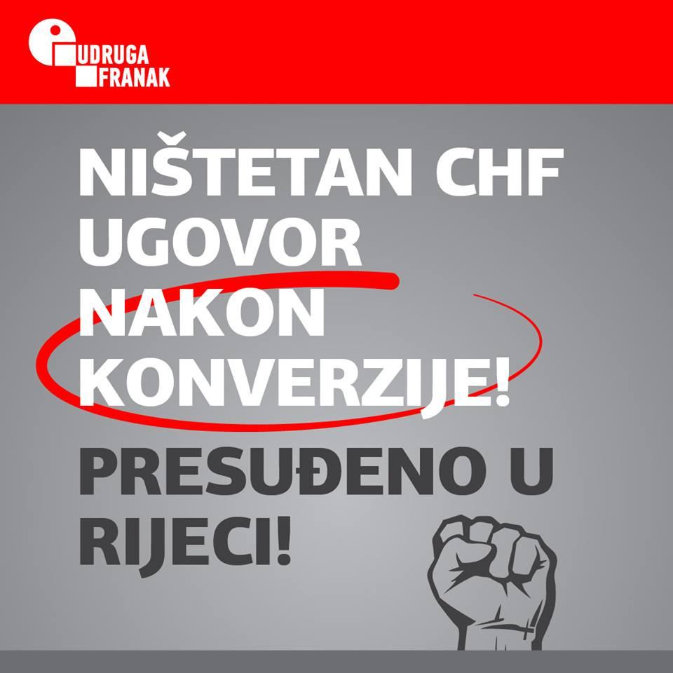 NIŠTETAN JE KONVERTIRANI CHF UGOVOR