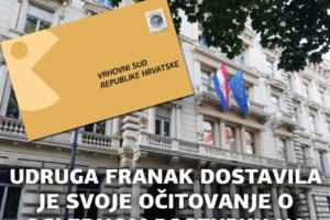 UDRUGA FRANAK PREDALA JE VRHOVNOME SUDU RH SVOJE OČITOVANJE NA OGLEDNI POSTUPAK Gos-1/2019