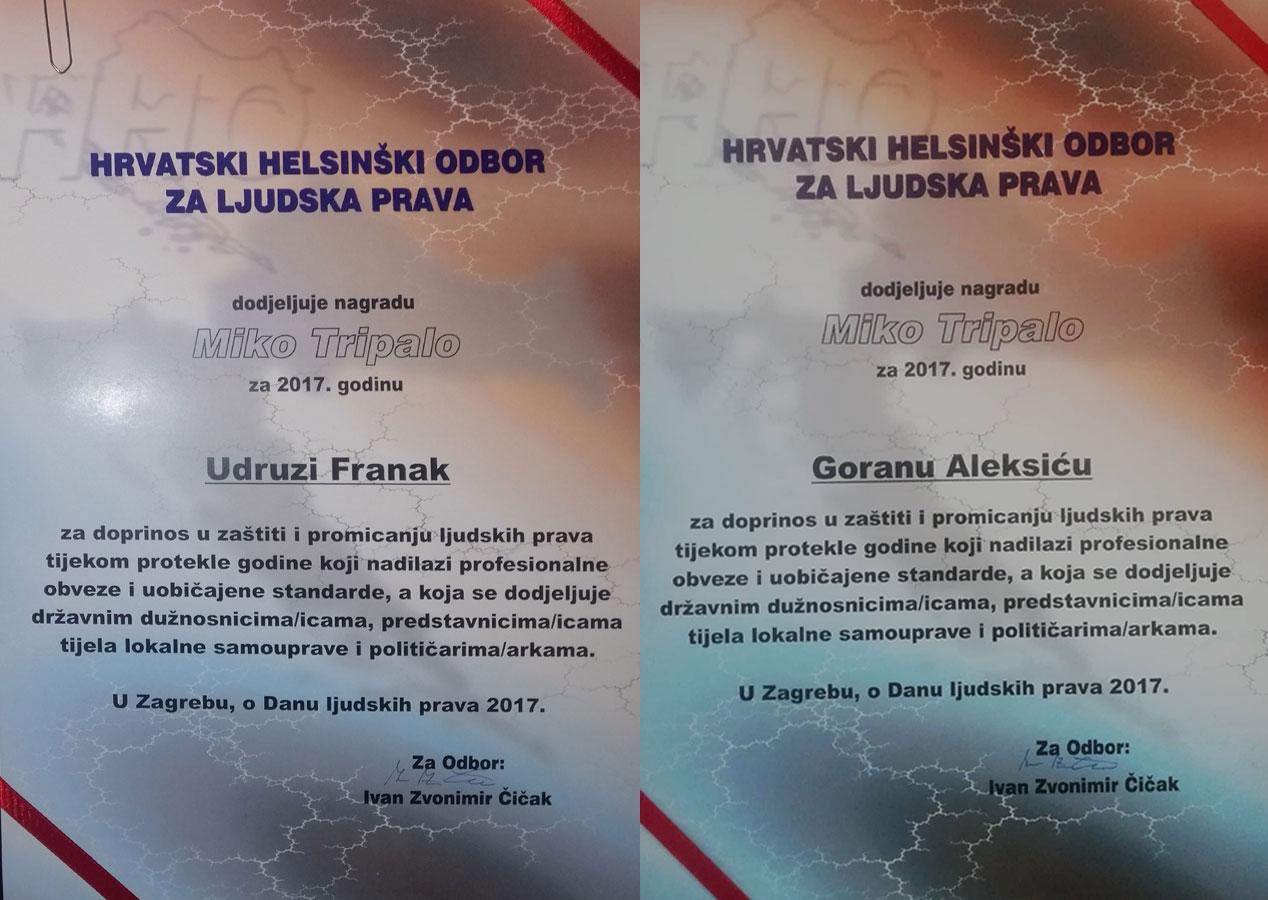 NA DANAŠNJI DAN 2018. UDRUGA FRANAK I GORAN ALEKSIĆ DOBILI SU NAGRADU ZA LJUDSKA PRAVA ZA 2017. GODINU!