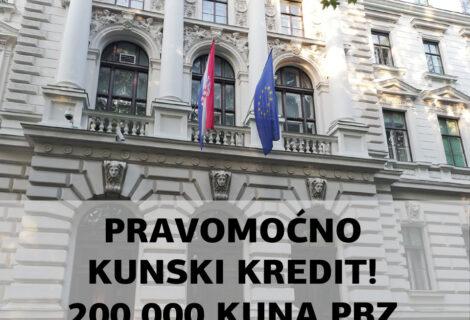 200.000 KUNA UPLATILA JE PRIVREDNA BANKA ZAGREB TUŽITELJU PO PRAVOMOĆNOJ PRESUDI ŽUPANIJSKOG SUDA U ZAGREBU GŽ-1279/21!